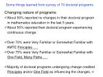 some things learned from survey of 70 doctoral programs2