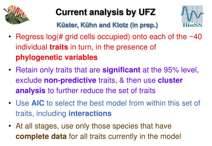 Current analysis by UFZ