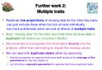 further work 2 multiple traits