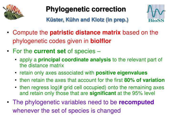 Phylogenetic correction