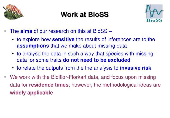 Work at BioSS