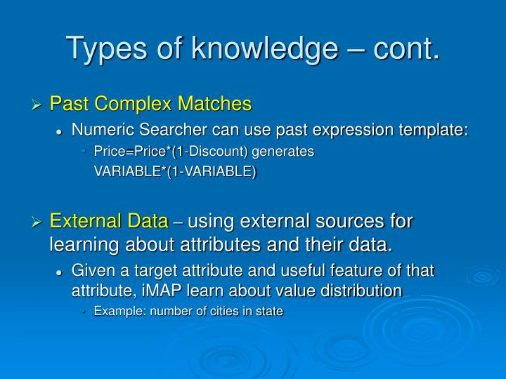 Types of knowledge – cont.
