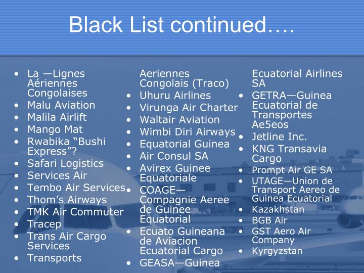 Black List continued….