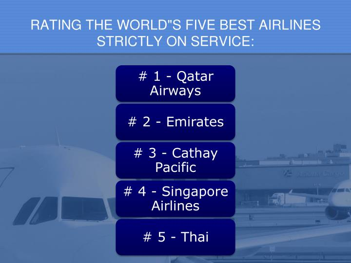 "RATING THE WORLD""S FIVE BEST AIRLINES"