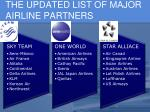 the updated list of major airline partners