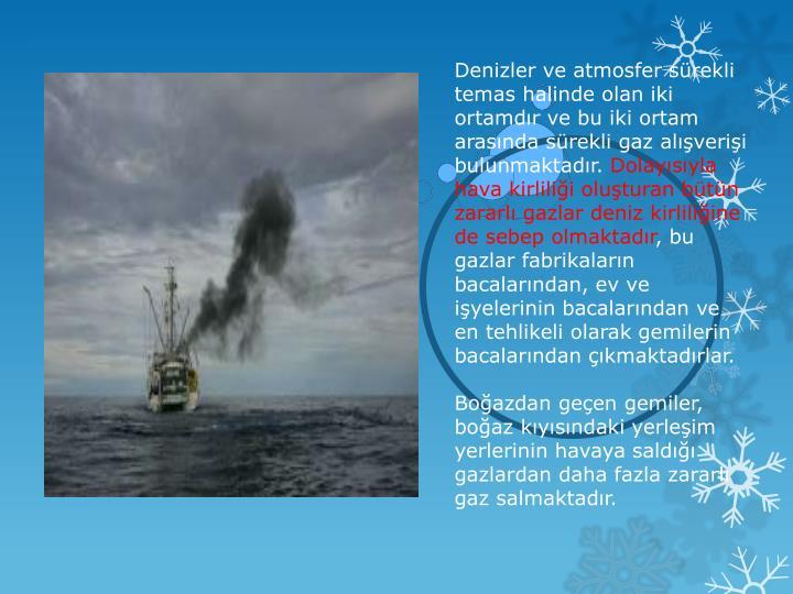 Denizler ve atmosfer sürekli temas halinde olan iki ortamdır ve bu iki ortam arasında sürekli gaz alışverişi bulunmaktadır.