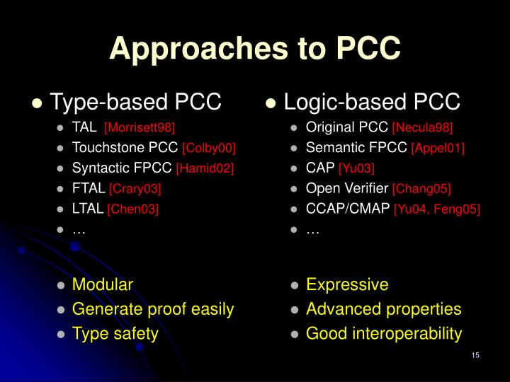 Approaches to PCC