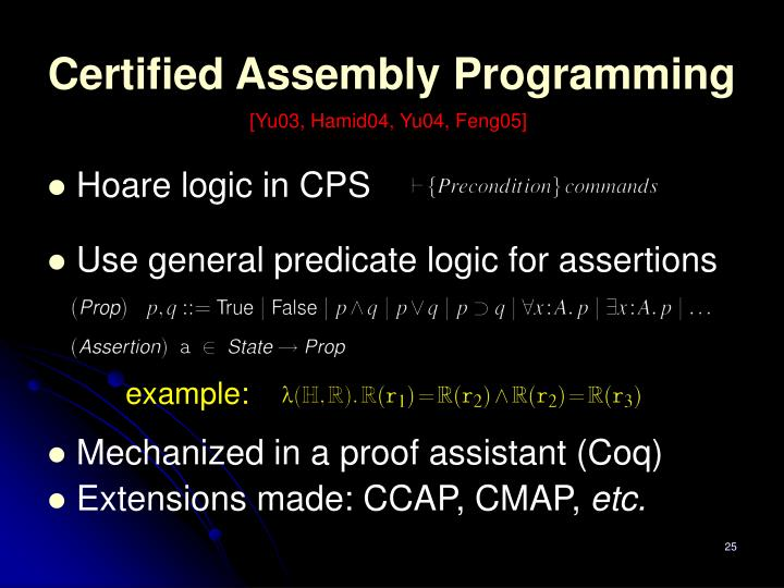 Certified Assembly Programming