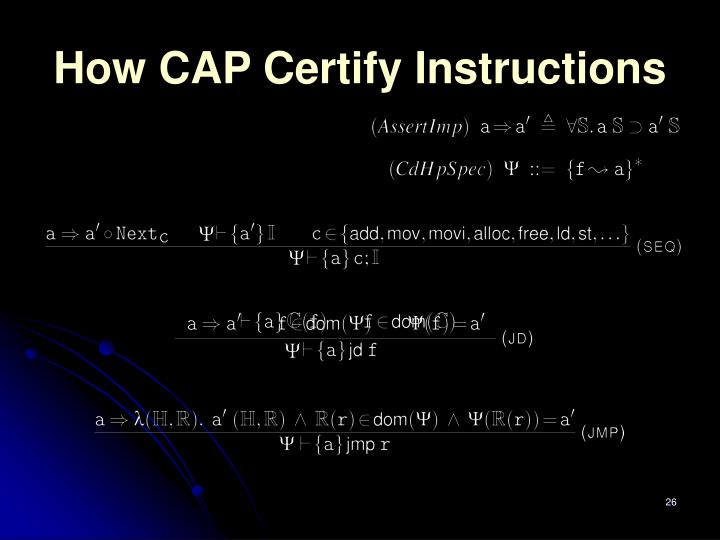 How CAP Certify Instructions