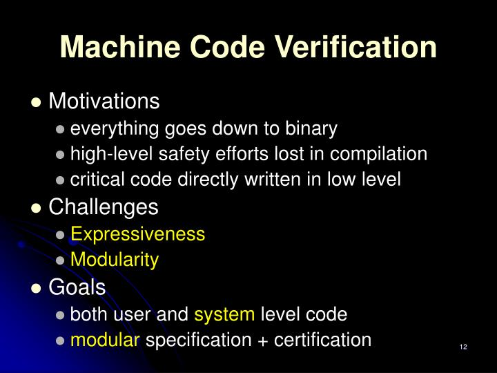 Machine Code Verification