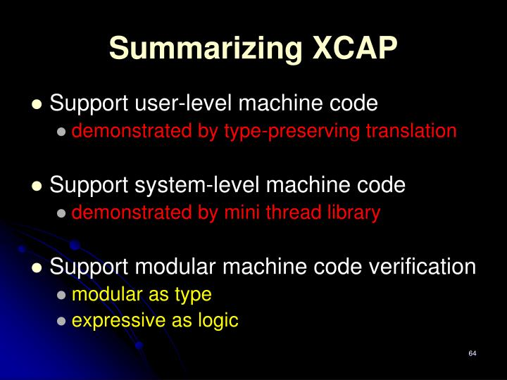 Summarizing XCAP