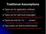 traditional assumptions
