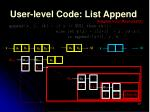 user level code list append