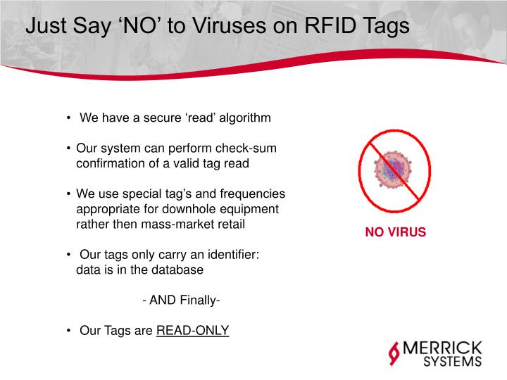 Just Say 'NO' to Viruses on RFID Tags
