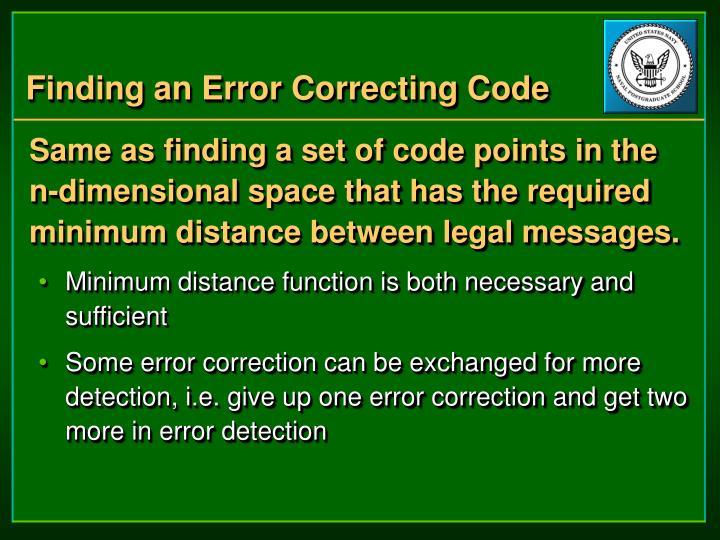 Finding an Error Correcting Code