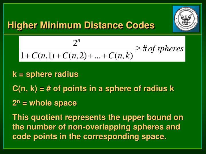 Higher Minimum Distance Codes