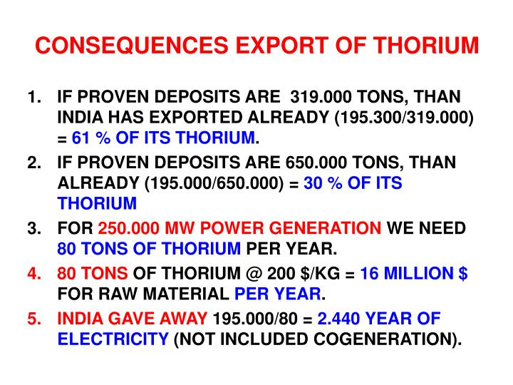 CONSEQUENCES EXPORT OF THORIUM