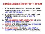 consequences export of thorium