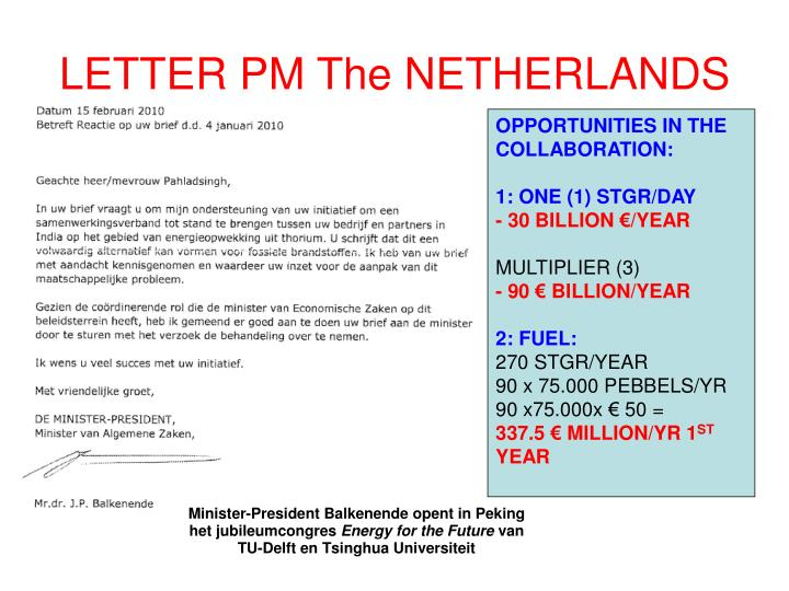 LETTER PM The NETHERLANDS