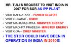 mr tuli s request to visit india in 2007 for sgr as ipp plant