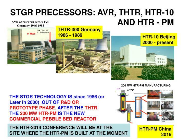 STGR PRECESSORS: AVR, THTR, HTR-10 AND HTR - PM