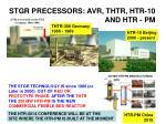 stgr precessors avr thtr htr 10 and htr pm