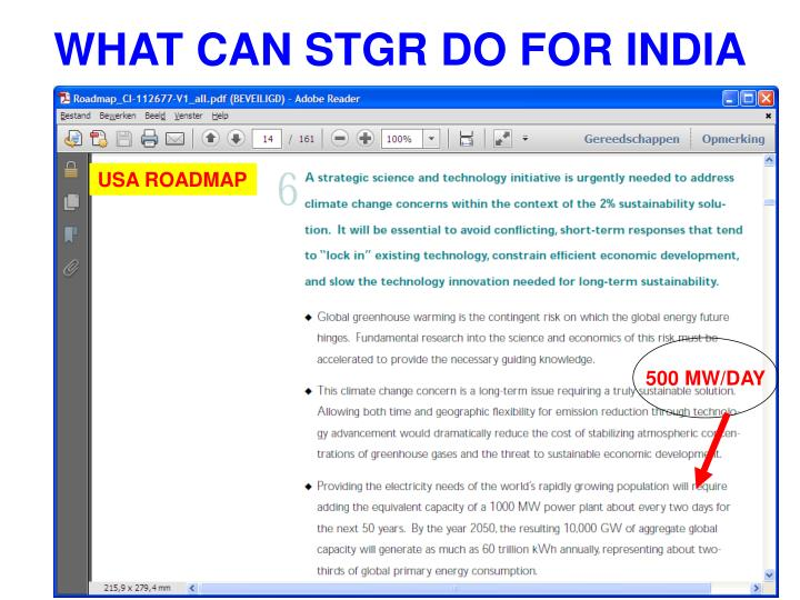 WHAT CAN STGR DO FOR INDIA
