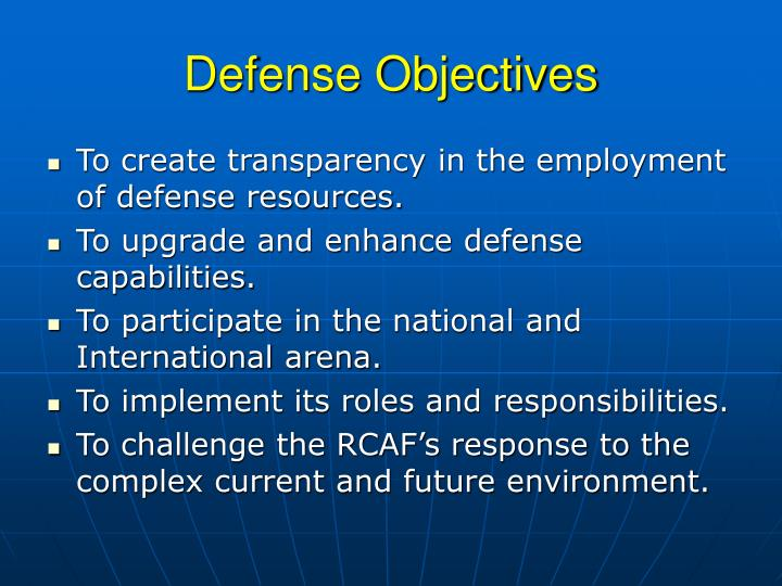Defense Objectives
