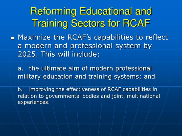 Reforming Educational and Training Sectors for RCAF