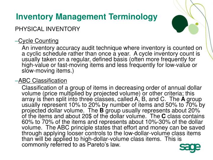 Inventory Management Terminology