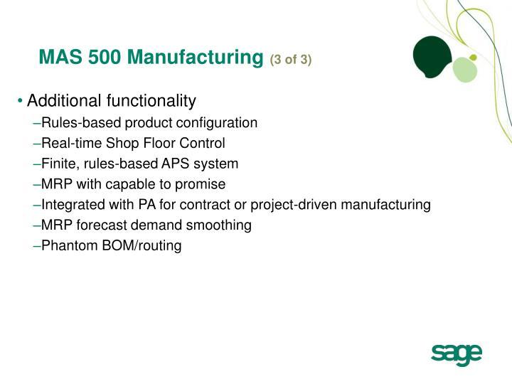 MAS 500 Manufacturing