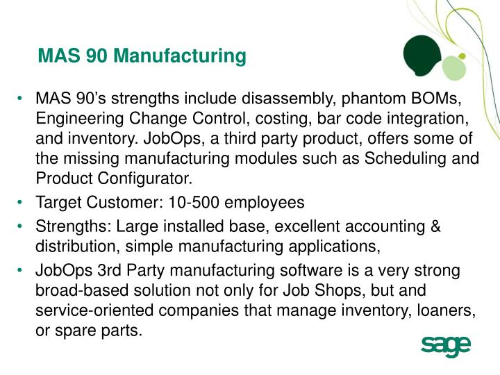 MAS 90 Manufacturing