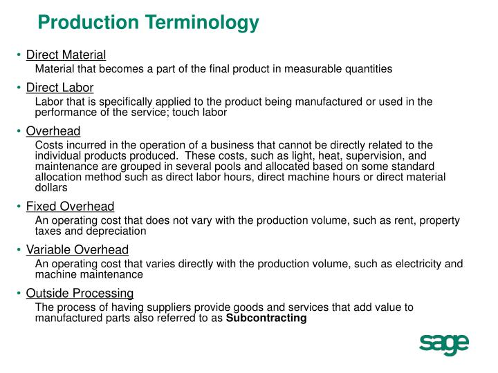 Production Terminology