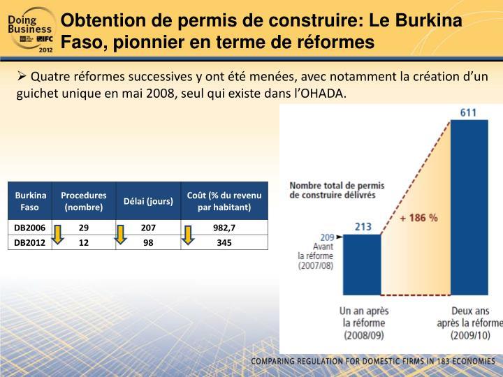 Obtention de permis de construire: Le Burkina Faso, pionnier en terme de réformes