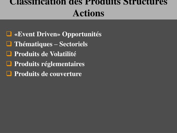 Classification des Produits Structurés Actions