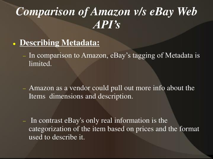 Comparison of Amazon v/s eBay Web API's