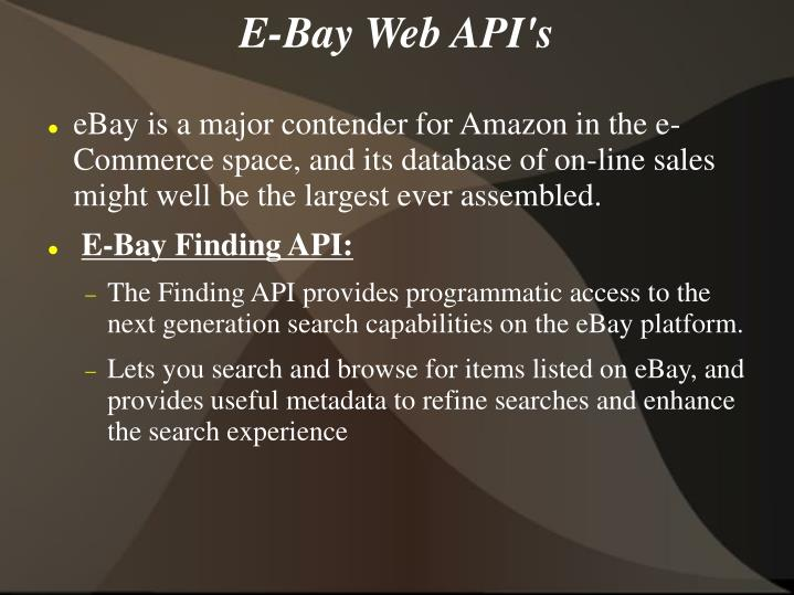 E-Bay Web API's