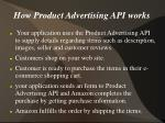 how product advertising api works