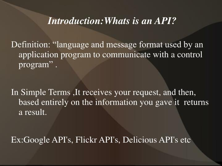 Introduction:Whats is an API?