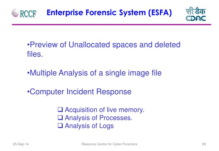 Enterprise Forensic System (ESFA)