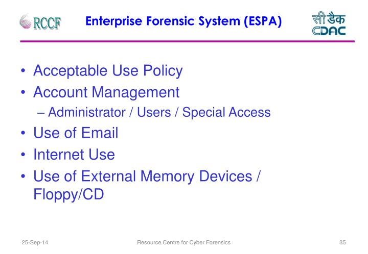 Enterprise Forensic System (ESPA)