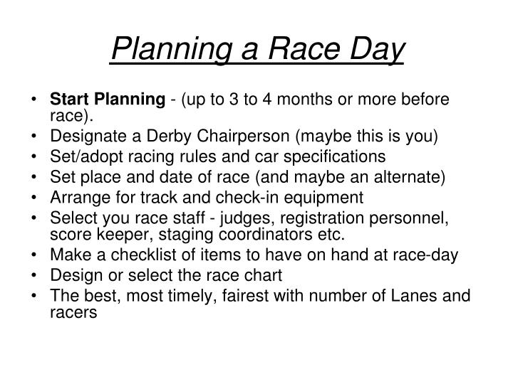 Planning a Race Day
