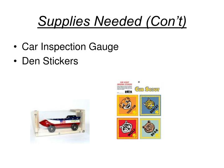 Supplies Needed (Con't)