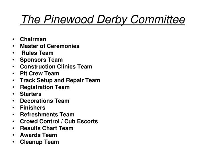 The Pinewood Derby Committee