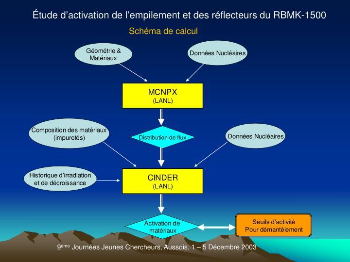 Étude d'activation de l'empilement et des réflecteurs du RBMK-1500