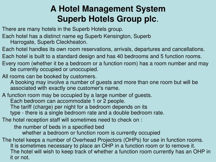 A Hotel Management System