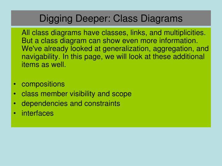 Digging Deeper: Class Diagrams