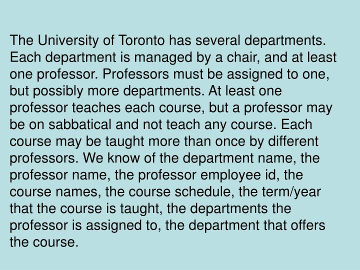 The University of Toronto has several departments. Each department is managed by a chair, and at least one professor. Professors must be assigned to one, but possibly more departments. At least one professor teaches each course, but a professor may be on sabbatical and not teach any course. Each course may be taught more than once by different professors. We know of the department name, the professor name, the professor employee id, the course names, the course schedule, the term/year that the course is taught, the departments the professor is assigned to, the department that offers the course.