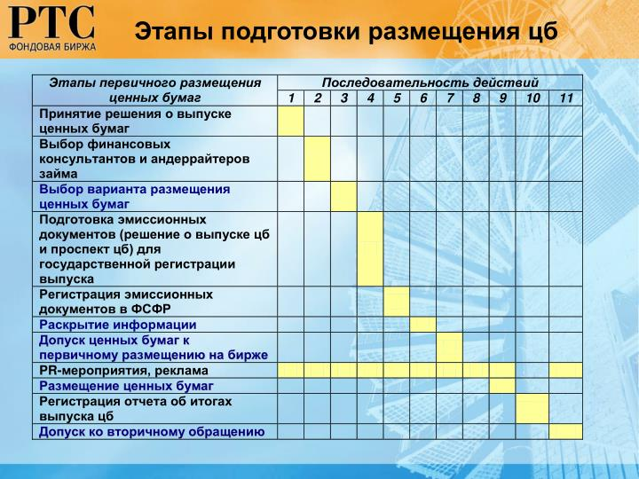 Этапы подготовки размещения цб