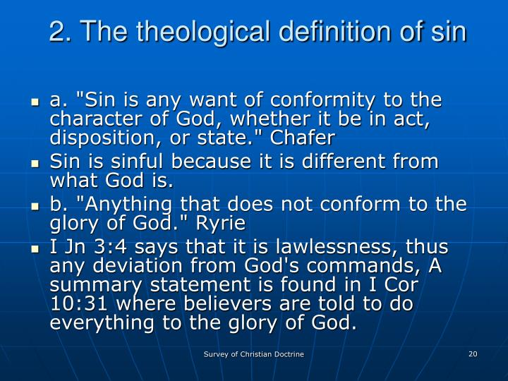 2. The theological definition of sin